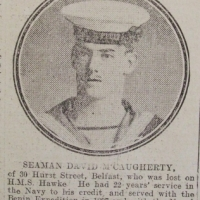 McCaugherty, David, Able Seaman, RN HMS Hawke, 30 Hurst Street Belfast, Died, Oct 1914