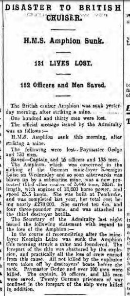 HMS Amphion Newsletter 7 Aug 1914