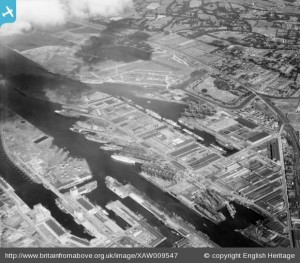 Harland & Wolff, Belfast, Belfast, Northern Ireland, 1947. Oblique aerial photograph taken facing East.
