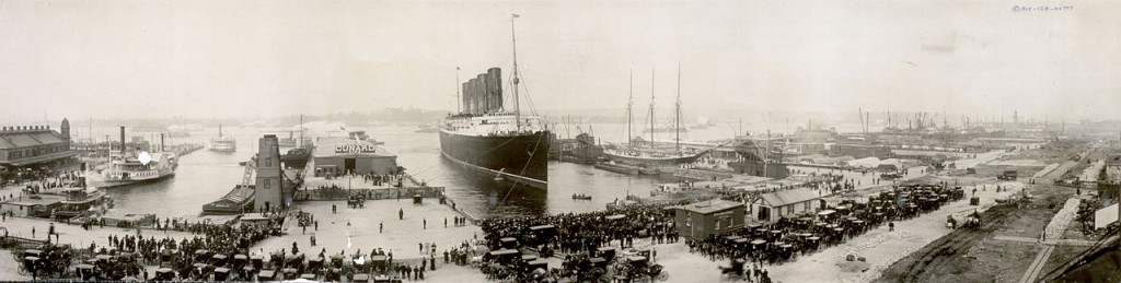 Lusitania at the end of the first leg of her maiden voyage, New York City, September 1907.