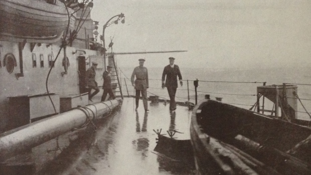Lord Kitchener, left, is seen aboard the HMS Iron Duke on June 5, 1916, the day before his ill-fated voyage on the HMS Hampshire. (National Army Museum archives)