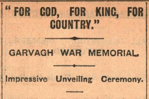 Garvagh War Memorial - Headlines (Northern Whig, 28-03-1924)