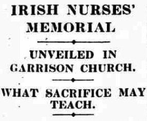 Irish Nurses (QAIMNS) War Memorial (Irish Times, 07-11-1921)