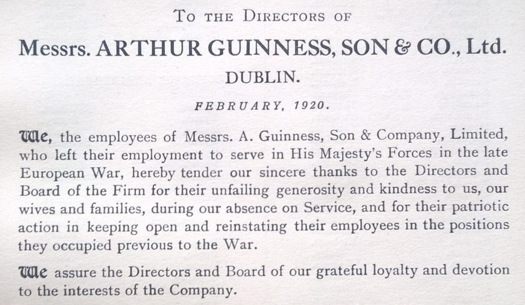 Guinness employees in the Great War